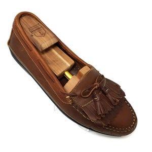 Johnston & Murphy Brown Leather Kilt/Tassel Loafer